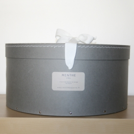 Boîte ronde grise 40cm