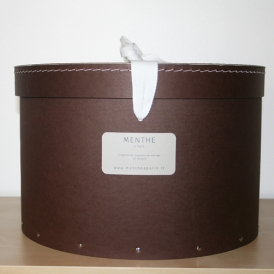 Boîte ronde marron 35cm